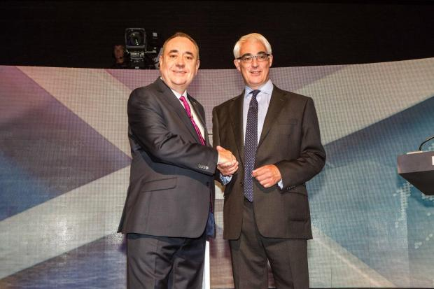 FREE FIRST USE ONLY EDITORIAL USE ONLY  Handout photo issued by Devlin  Photo Ltd of (left) Scotland's First Minister Alex Salmond and former chancellor, the leader of the pro-UK Better Together campaign Alistair Darling at a TV debate of the independ