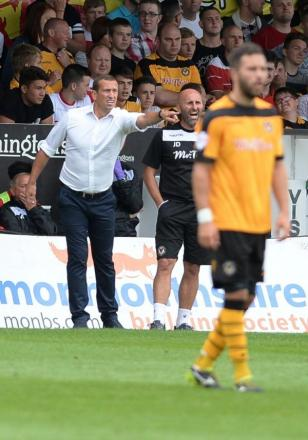 FRUSTRATED: Newport County AFC manager Justin Edinburgh tries to get his message across at Rodney Parade today