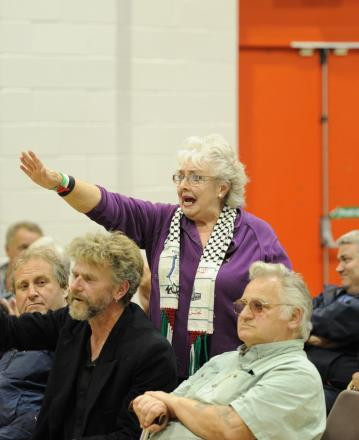 ROWDY: Resident Joyce Giblin raises her concerns for the community