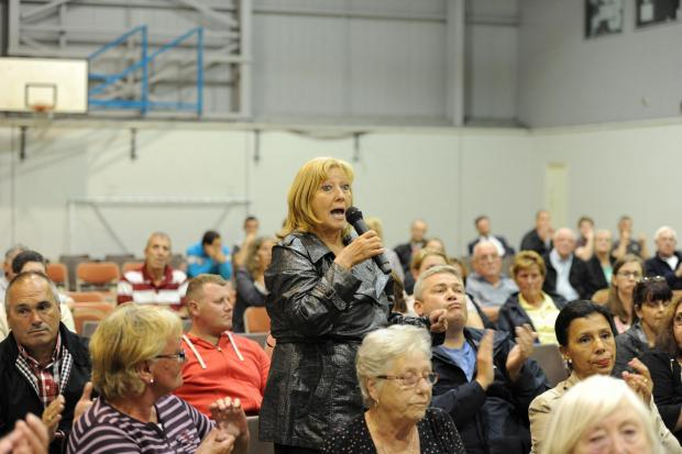 Public meeting held at Pill Millennium Centre regarding the NATO Pill Peace Camp.  Pictured is a Pill business owner Alison Shatfort raising  raising policing concerns for the community. (9221516)