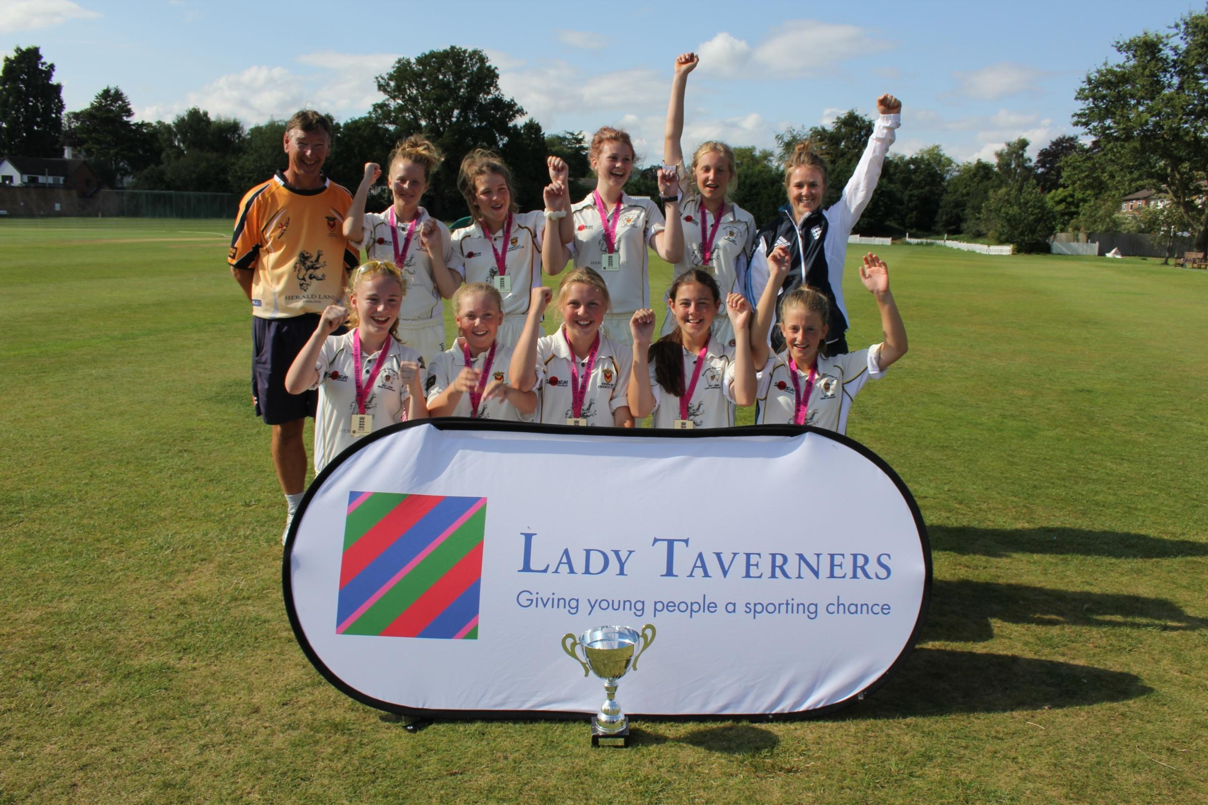 CHAMPIONS: Newport CC celebrate winning the U15 National Lady Taverners T20 competition with England International Becky Grundy. Pictures courtesy of Lord's Taverners