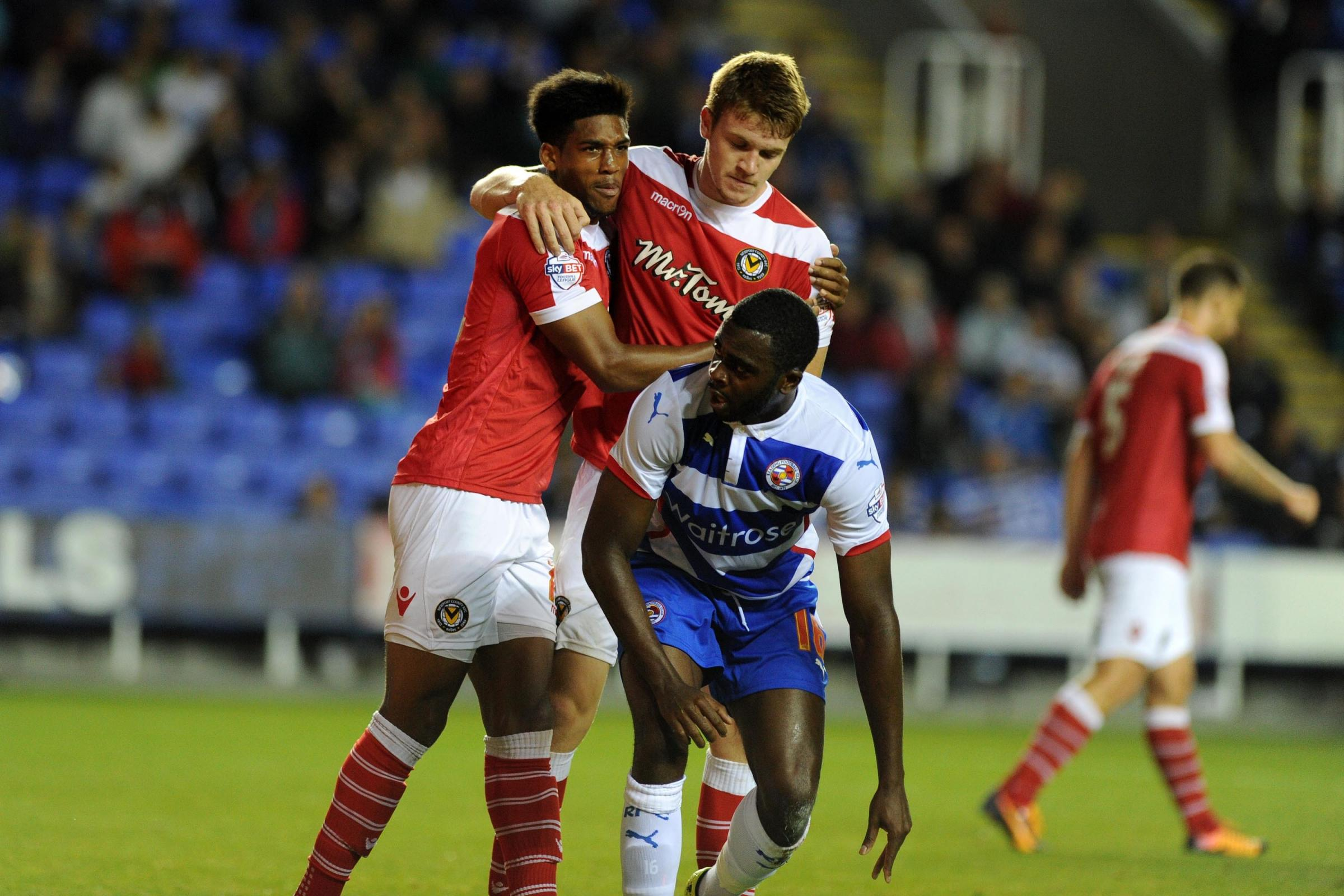 GOAL: Shauan Jeffers, left, celebrates his strike at Reading with Kevin Feely