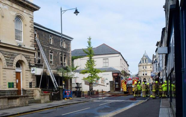 FIRE  Firefighters who tackled a blaze at the St David's Foundation charity shop in Pontypool (9339992)