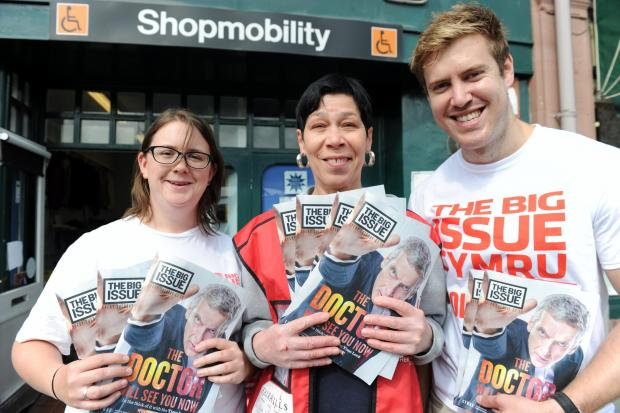The Big Issue Cymru is holding a sales competition among Newport city businesses.  Pictured centre is Edwina Kalter from Shopmobility joined by staff Claire Bissett and Michael McEwan from The Big Issue Cymru. (9350488)