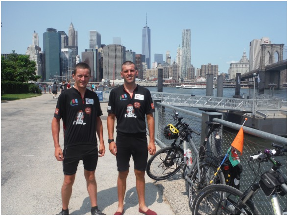 CYCLISTS: Ryan Farley and Rob Shipley in New York