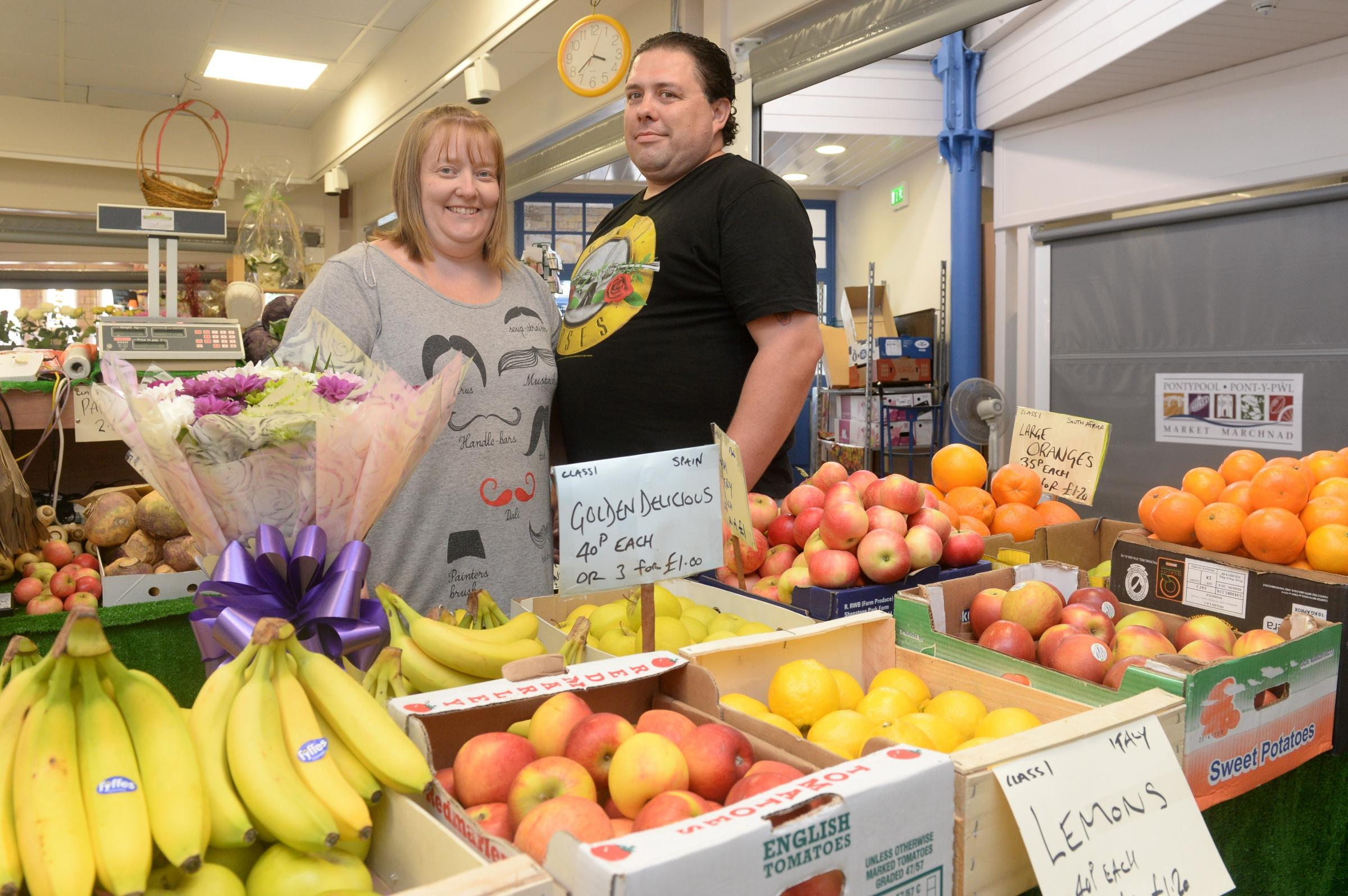 New Traders at Pontypool Market. Pictured are Rhianne and Danny Harris, who run a fruit and veg stall alongside a flower stall in Pontypool Market. (9468565)