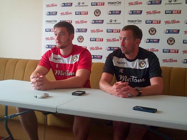 NEW SIGNING: Joe Day speaks to the media with Justin Edinburgh this afternoon