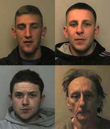 JAILED: Clockwise from top left: Jamie Walsh, David Walsh, Robert Bevan and Anthony O'Flaherty