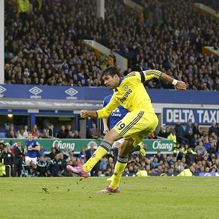 Diego Costa, right, scores the final goal of a 6-3 victory for Chelsea again