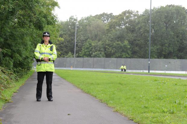 Police have blocked off pedestrian access to Coldra Roundabout.  Pictured is a Police officer from Lancashire Constabulary on the pedestrian path at Chepstow Road. (9800243)