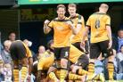 BIG WIN: Our captain Darren Jones celebrates Andy Sandell's winner at Pompey