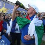 South Wales Argus: Europe's Jamie Donaldson celebrates after winning the 40th Ryder Cup at Gleneagles Golf Course, Perthshire. PRESS ASSOCIATION Photo. Picture date: Sunday September 28, 2014. Photo credit should read: Andrew Milligan/PA Wire. RESTRICTIONS: Use subject