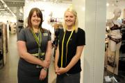 Argus reporter Becky Carr tries work experience at the Marks & Spencer Lingerie Department in Spytty Retail Park.  Pictured left is section manager Nicky Moulton with Becky. (10934510)