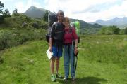 HIKERS: Harri Roberts and Tracy Burton at Conwy's Capel Curig in June while on their Wales-wide walk.