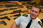 Police Chief Inspector, Ieuan Matthews with some of the weapons handed in
