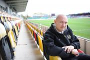 First Person with James Watts.  Pictured is James at the Bisley Stand at Rodney Parade where he works as a commercial manager for Newport County, when he is not an MC. (12958754)