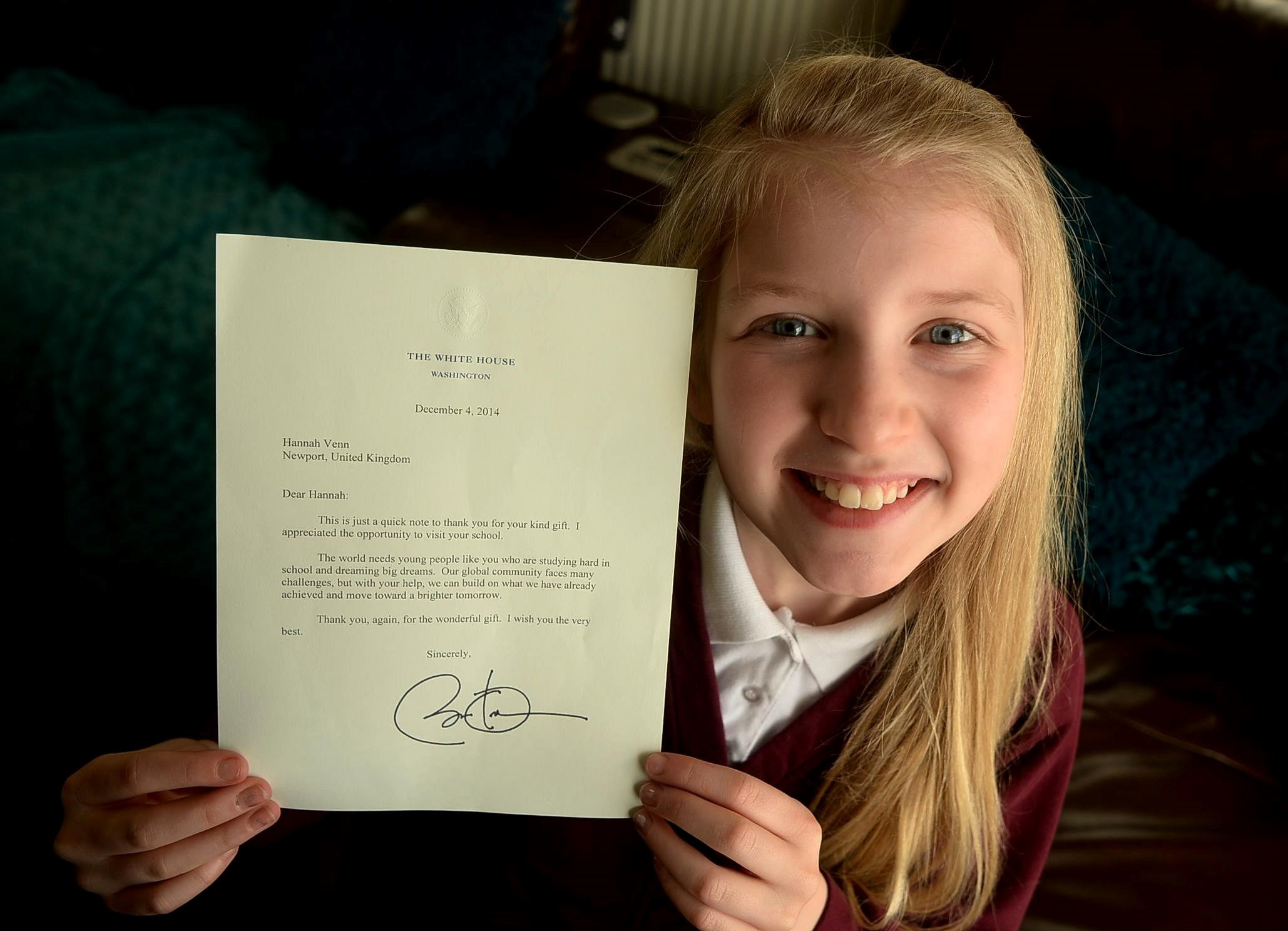 Newport pupil gets thank you letter from