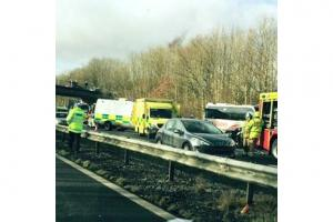 28 hurt in five-vehicle crash on M4 in South Wales