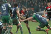 SPIRITED DISPLAY: Hooker Rhys Thomas on the charge for the Dragons against Connacht