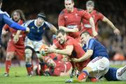 TRY TIME: Wales captain Sam Warburton, pictured scoring against France last year, will equal Ryan Jones' record on Saturday