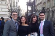 FAMILY AFFAIR: Gareth and Hannah Williams with Laura and Bradley Cummings outside Downing Street.
