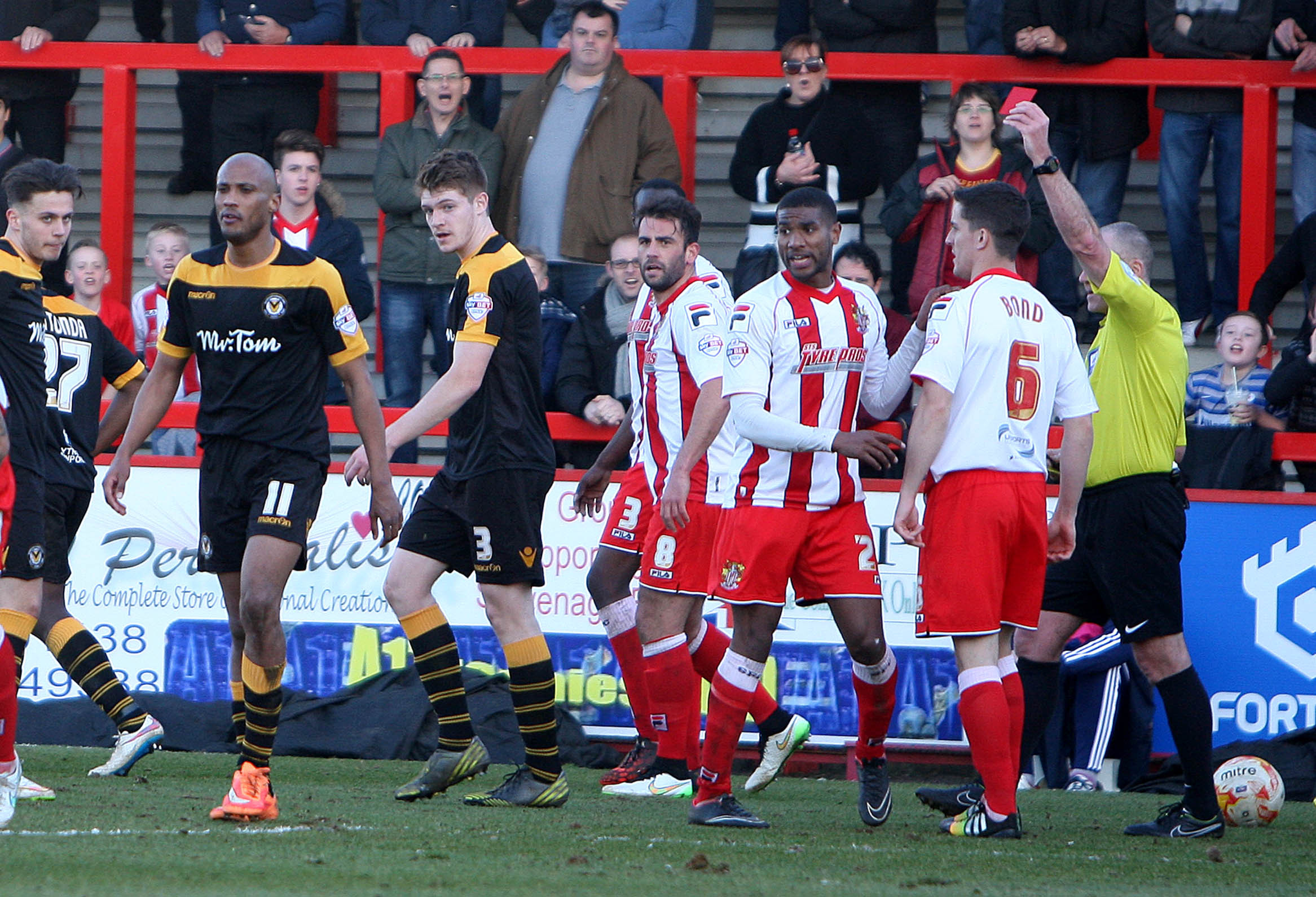 07.03.15 - Stevenage Borough v Newport County -  Sky Bet League 2 - Chris Zebroski of Newport is red carded. (20156493)