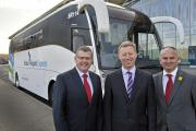 Kevin Gale, National Express UK coach service delivery director, Robert Sinclair, Bristol Airport chief executive officer, and Jason Edwards, owner of Edwards Coaches