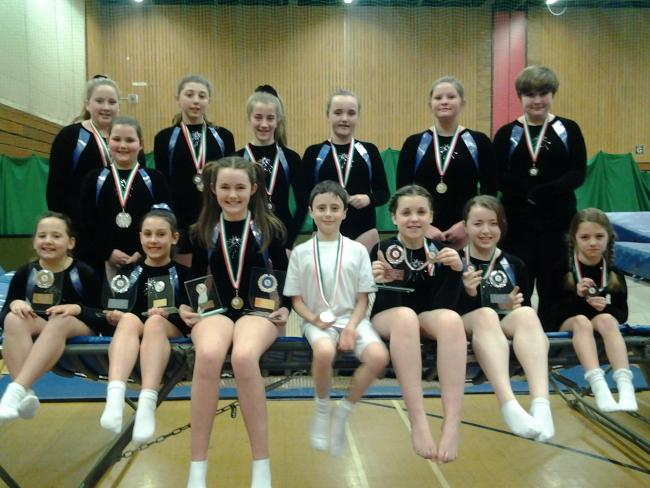 TALENTED: Some of the Usk Valley Trampoline Club members with their medals