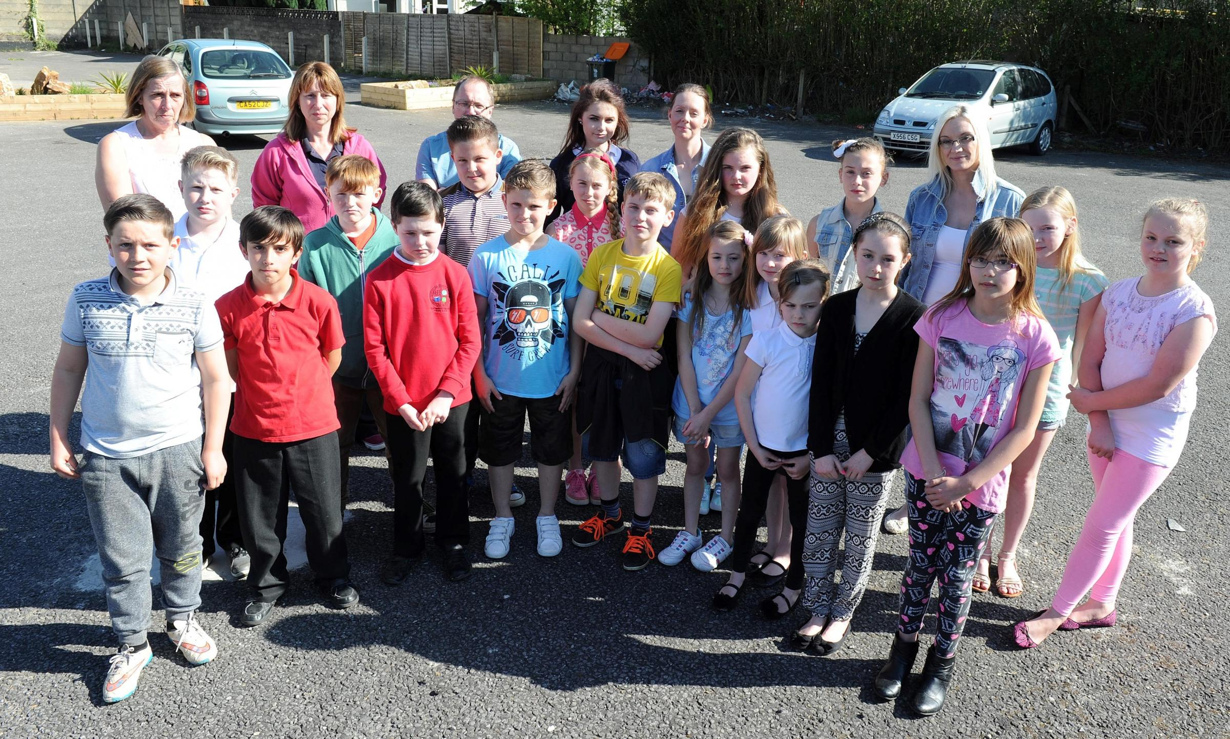 Parents and pupils from UInderwood who are concerned about Newport councils decision to charge for school transport. (23231652)