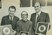 POP STARS: Dr Neil Phillips, right, with England star Nobby Stiles, centre, and Middlesbrough assistant manager Harold Shepherdson as they received gold discs for their part in number one hit Back Home in 1970