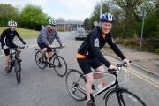 Mark Birchall along with friend John Harper and his son, Rhys Harper, set out from Newport to ride to London. Mark will then run in the London Marathon on Sunday. (24032291)