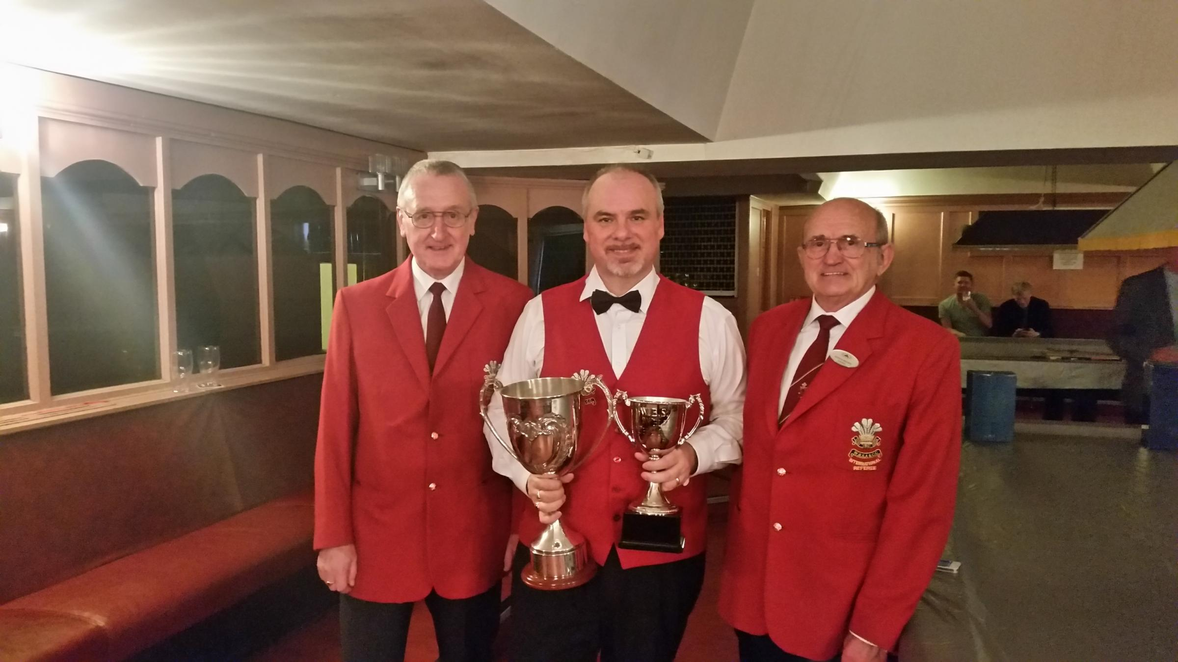 WINNER: Darren Morgan, centre, is Welsh amateur champion again