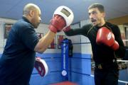 TOP TEAM: Lee Selby in training with Tony Borg at St Joseph's gym in Newport