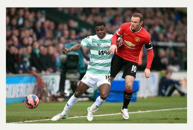 NEW MAN: Seth Nana Twumasi in action against Manchester United star Wayne Rooney in the FA Cup in January