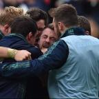 South Wales Argus: Greig Laidlaw, centre, inspired Scotland to victory