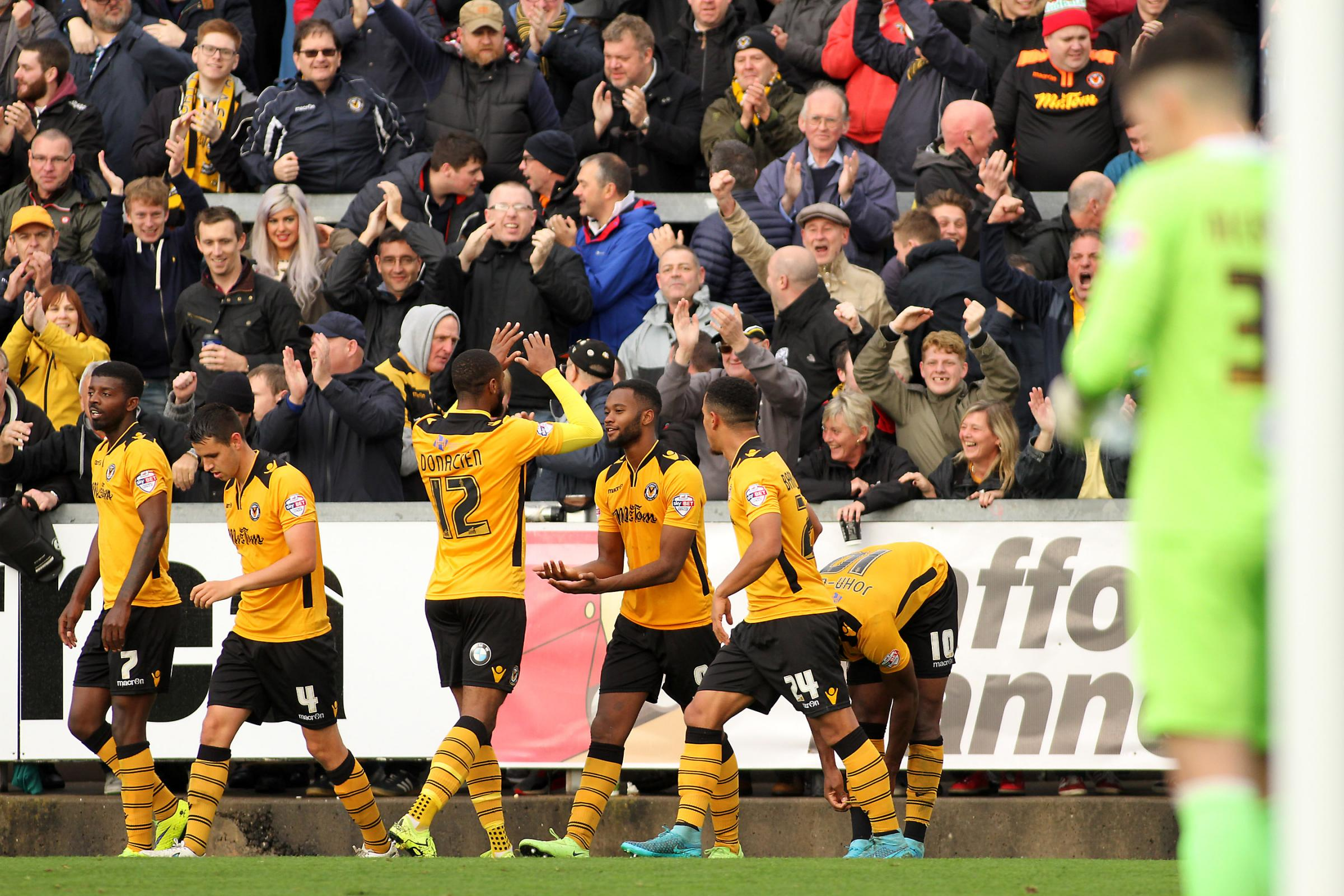 GOAL: County celebrate in front of their fans. Picture: Huw Evans Agency