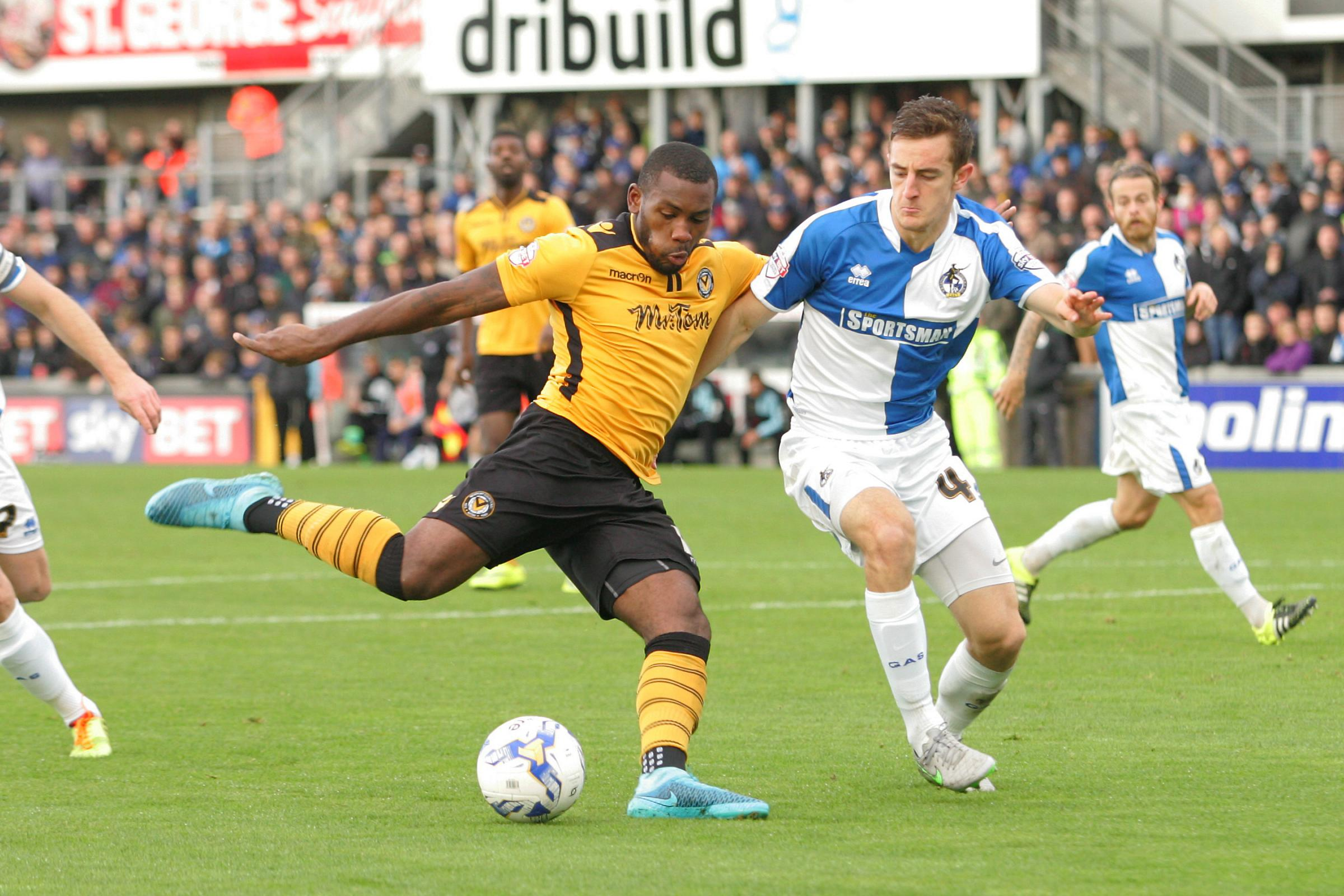 DERBY: Lenell John-Lewis in action for Newport County against Bristol Rovers earlier this season