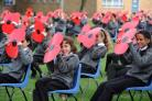 Students from Duffryn High form 1914 - 1918 2015 with giant poppies to mark the launch of Gwent County Royal British Legion Poppy appeal 2105. (43272372)