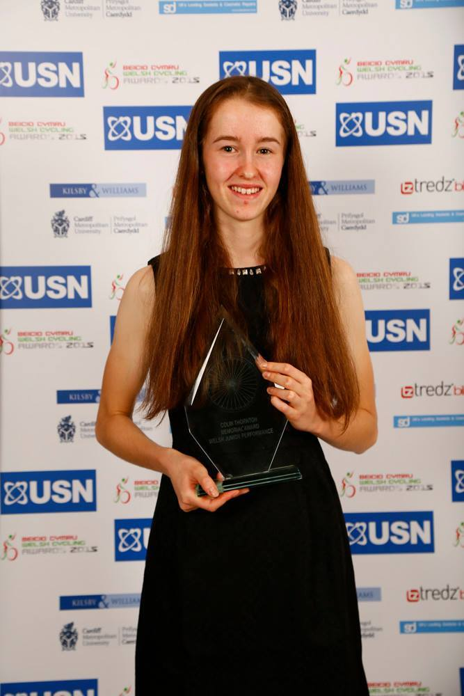 WINNER: Ffion James with the Colin Thornton Memorial Award for best Welsh Junior Performance at the 2015 USN Welsh Cycling Awards