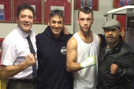COMEBACK: Fred Evans, second right, with former trainer Tony Borg, ex-manager Chris Sanigar, second left, and Billy Reynolds