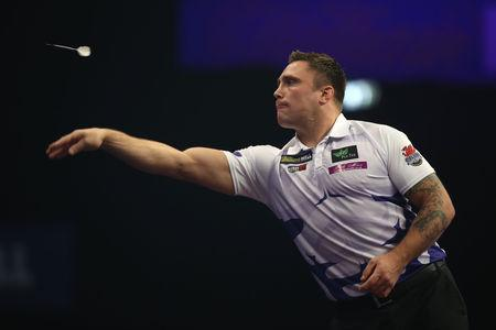 VICTORY: Gerwyn Price retained his International Darts Open title on Sunday