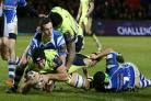 OUTMUSCLED: Back row forward Josh Beaumont powers over in Sale's crushing win against Newport Gwent Dragons