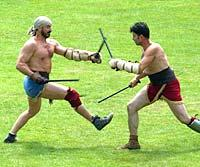 South Wales Argus: AUTHENTIC: Wrestlers in the amphitheatre at Caerleon