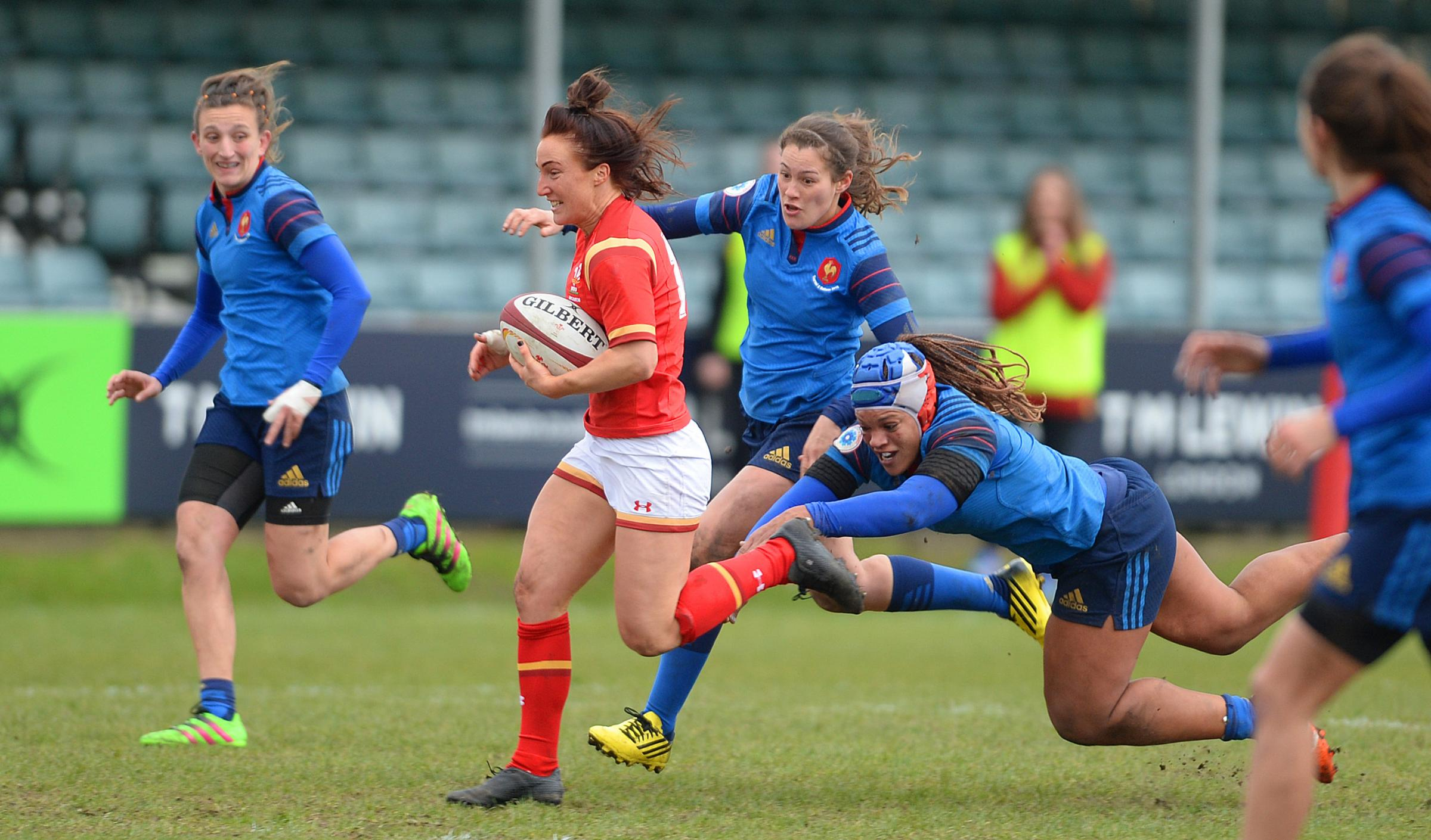 ON THE RUN: Wing Bethan Dainton's break helped set up Meg York's crucial score in Wales' win against France