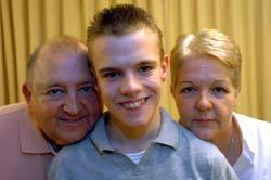 STRONGER LINKS: James Allen, 14, who helped launch the Sparkle Appeal with his mum, Linda and dad, Ronnie