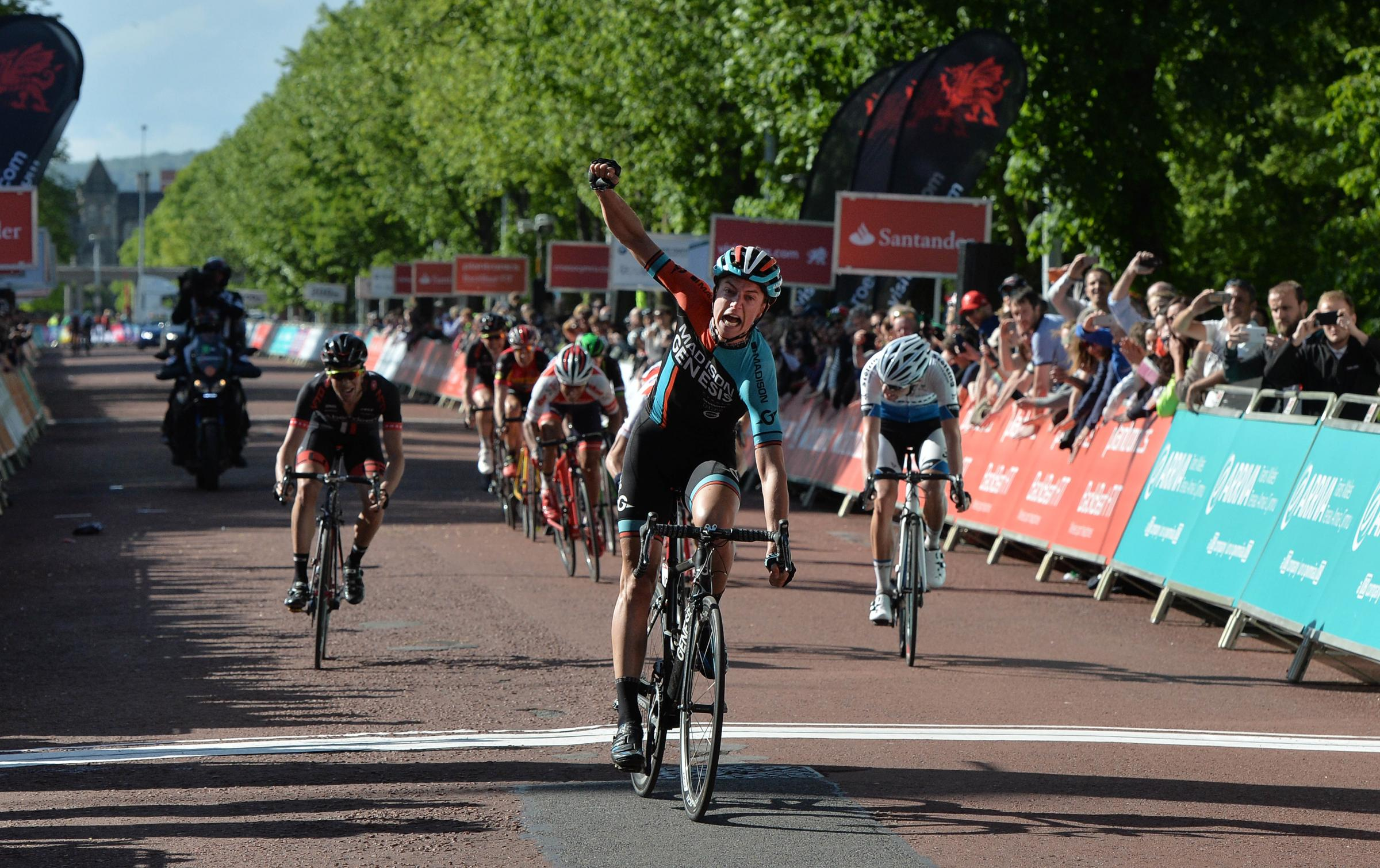 WINNER: Tom Stewart crosses the line to take victory in the Velothon Wales pro race