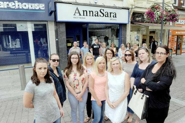 South Wales Argus: Brides outside AnnaSara bridal shop in Commercial Street, Newport with their families.