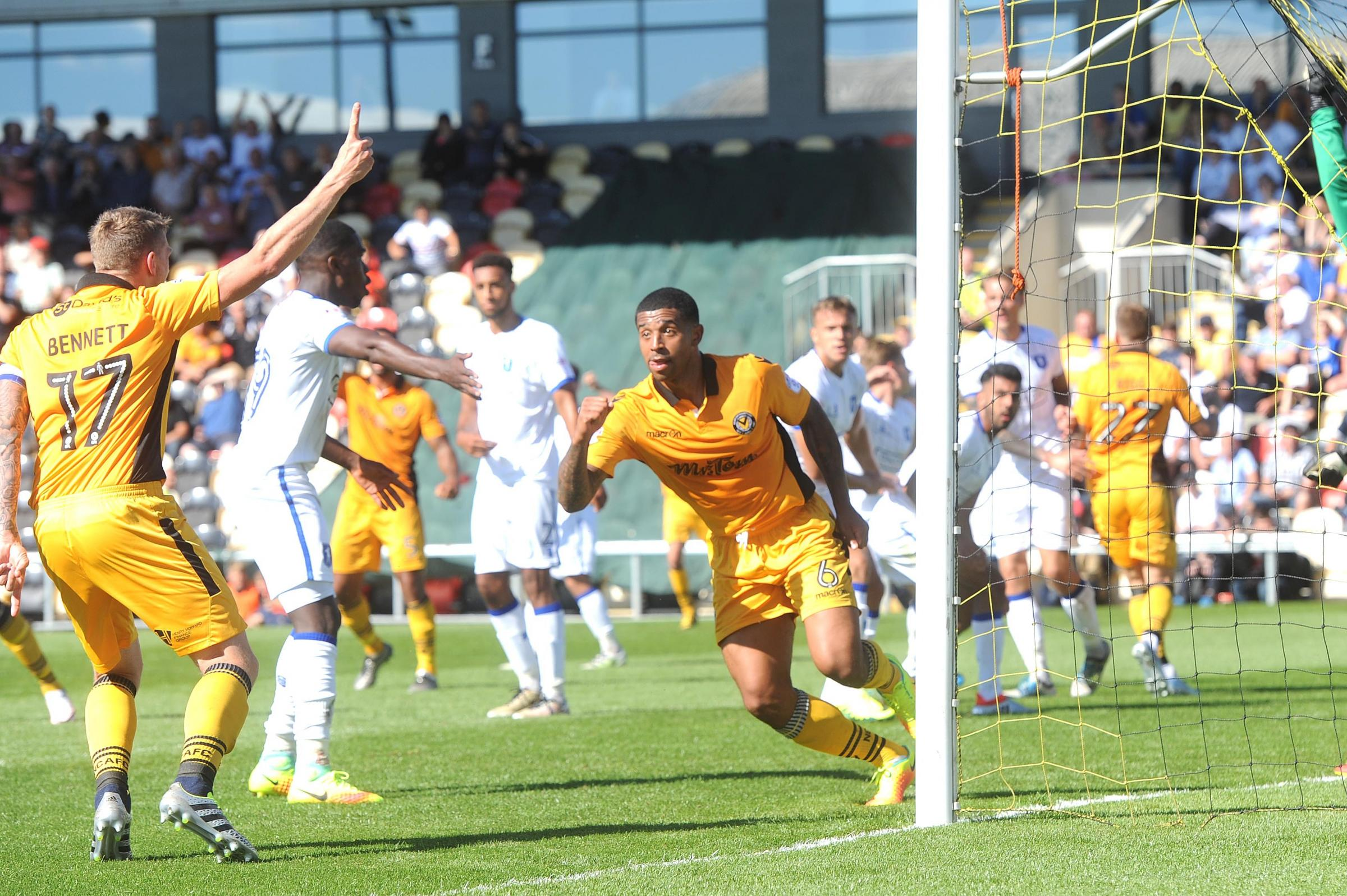 OFF TO A FLYER: Joss Labadie celebrates after scoring on his Newport County debut against Mansfield