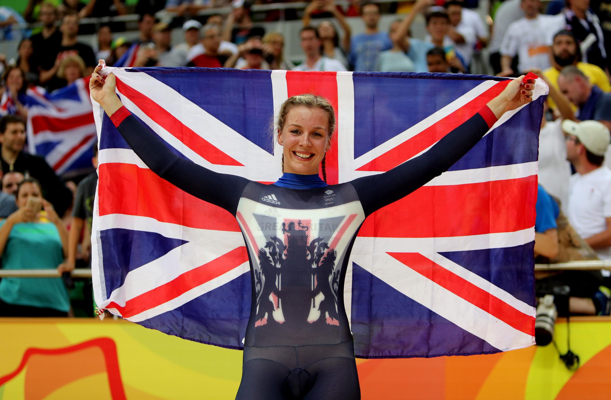 SUCCESS: Abergavenny's Becky James celebrates following her silver medal in the women's keirin final at the Rio 2016 Olympics