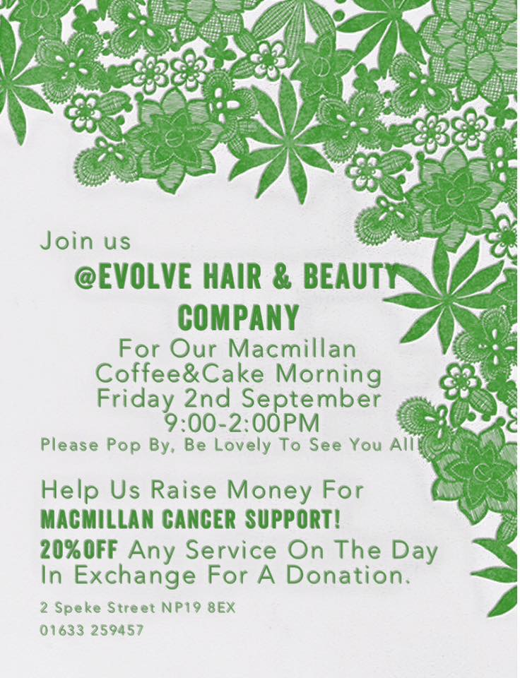 Evolve Hair & Beauty Company Macmillan coffee morning